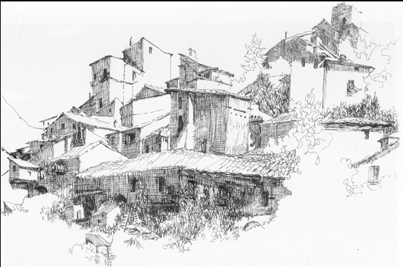 Finished drawing of San Martino Italy