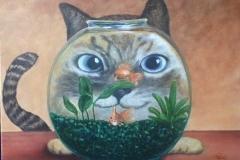 Cat in Fish Bowl  Linda Zapp